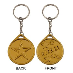 60 x Plastic Gold Medals On Keyrings - Winner - Wholesale Bulk Buy